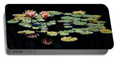 Portable Battery Charger featuring the painting Waterlily Panorama by Marilyn Smith