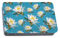 Portable Battery Charger featuring the mixed media Waterlily Pattern by Christina Rollo
