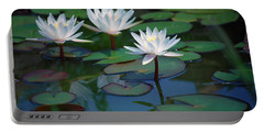 Waterlilys Portable Battery Charger by Robert Meanor