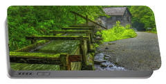 Portable Battery Charger featuring the photograph Waterworks Mingus Mill Mingus Creek Art  Great Smoky Mountains Art by Reid Callaway