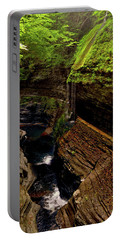 Watkins Glen State Park - Rainbow Falls 003 Portable Battery Charger by George Bostian