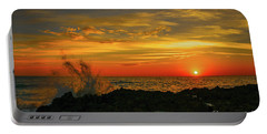 Wave Break Sunrise Portable Battery Charger by Tom Claud