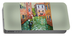Wave Under The Oars Of The Gondola, City Scene. Portable Battery Charger