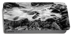Waves Against A Rocky Shore In Bw Portable Battery Charger