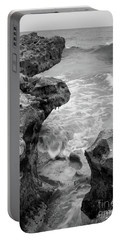 Portable Battery Charger featuring the photograph Waves And Coquina Rocks, Jupiter, Florida #39358-bw by John Bald