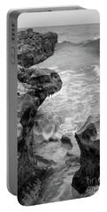 Waves And Coquina Rocks, Jupiter, Florida #39358-bw Portable Battery Charger