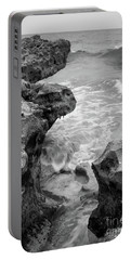 Waves And Coquina Rocks, Jupiter, Florida #39358-bw Portable Battery Charger