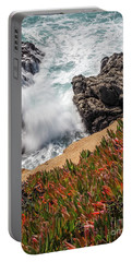 Portable Battery Charger featuring the photograph Waves And Rocks At Soberanes Point, California 30296 by John Bald