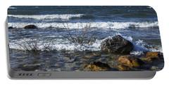 Waves Crashing Ashore At Northport Point On Lake Michigan Portable Battery Charger