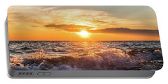 Waves Crashing With Suset Portable Battery Charger