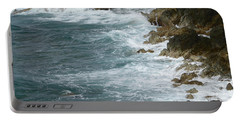 Waves Lashing Rocks Portable Battery Charger by Margaret Brooks