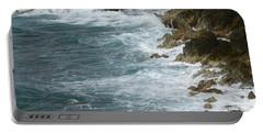 Waves Lashing Rocks Portable Battery Charger