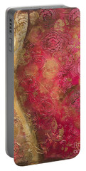 Waves Of Circles On Fuchsia Portable Battery Charger by Kristen Abrahamson