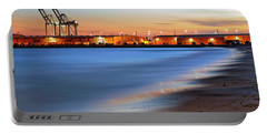 Portable Battery Charger featuring the photograph Waves Of Industry - Gulfport Mississippi - Sunset by Jason Politte