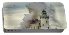 Waves Over The Lighthouse In Cleveland. Portable Battery Charger