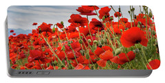 Waving Red Poppies Portable Battery Charger