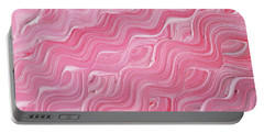 Wavy Pink Brush Strokes Abstract Art For Interior Decor Ix Portable Battery Charger