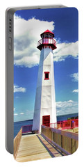 Portable Battery Charger featuring the painting Wawatam Lighthouse by Christopher Arndt