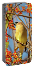 Waxwing Heaven Portable Battery Charger by Amy Porter