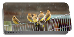 Waxwings In The Rain Portable Battery Charger