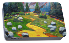 Portable Battery Charger featuring the painting Way To The Lake by Gary Coleman