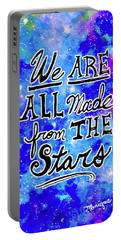 Portable Battery Charger featuring the mixed media We Are All Made From The Stars by Monique Faella