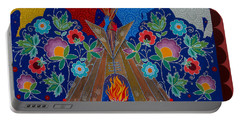Portable Battery Charger featuring the painting We Are One Bond by Chholing Taha