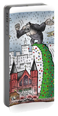 Portable Battery Charger featuring the digital art King Kong Kristmas by Mark Armstrong