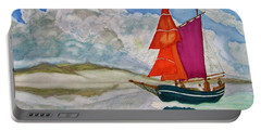 Portable Battery Charger featuring the painting We Sailed Upon A Sea Of Glass by Rand Swift