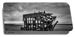 Weathered Rusting Shipwreck In Black And White Portable Battery Charger