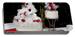Wedding Cake And Red Roses Portable Battery Charger