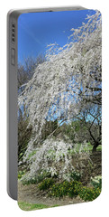 Portable Battery Charger featuring the photograph Weeping Cherry Starting To Bloom by Liza Eckardt