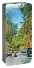 Portable Battery Charger featuring the painting Weeping Janur Bali Indonesia by Melly Terpening