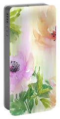 Portable Battery Charger featuring the painting Weeping Rose Forest by Colleen Taylor