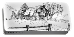 Weeping Willow And Barn One Portable Battery Charger