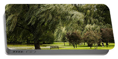 Weeping Willow Trees On Windy Day Portable Battery Charger