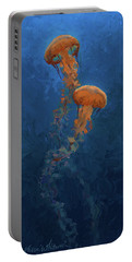 Portable Battery Charger featuring the painting Weightless - Pacific Nettle Jellyfish Study  by Karen Whitworth