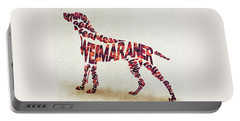 Portable Battery Charger featuring the painting Weimaraner Watercolor Painting / Typographic Art by Inspirowl Design