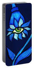 Weird Blue Staring Creepy Eye Flower Portable Battery Charger
