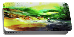 Portable Battery Charger featuring the painting Welcome Back by Anil Nene