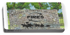 Portable Battery Charger featuring the painting Welcome Sign Fort Sill by Betsy Hackett