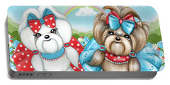 Portable Battery Charger featuring the painting Welcome Spring Maltese And Yorkie by Catia Lee