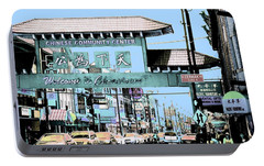 Portable Battery Charger featuring the photograph Welcome To Chinatown Sign Blue by Marianne Dow