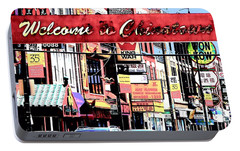 Portable Battery Charger featuring the photograph Welcome To Chinatown Sign Red by Marianne Dow
