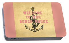 Portable Battery Charger featuring the digital art Welcome To Our Beach House by Edward Fielding