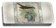 Welcome To Our Nest - Vintage Bird W Egg Portable Battery Charger by Audrey Jeanne Roberts