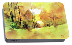 Portable Battery Charger featuring the painting Welcome Winter by Anil Nene