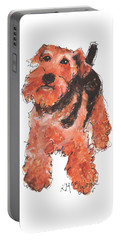 Welsh Terrier Or Schnauzer Watercolor Painting By Kmcelwaine Portable Battery Charger