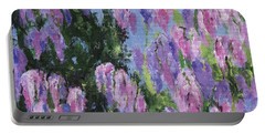 Portable Battery Charger featuring the painting Wendy's Wisteria by Jamie Frier