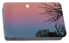 Portable Battery Charger featuring the photograph West Brattleboro Full Moon by Tom Singleton